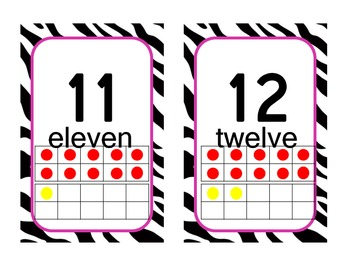 Zebra themed number line
