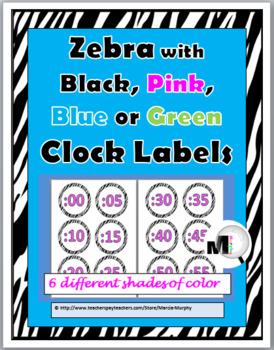 Zebra Theme Classroom Decor Clock Labels - Telling Time