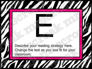 Bulletin Board Headers: Zebra & hot pink (editable)