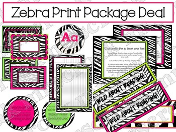 Package Deal: Zebra with Hot Pink & Lime Green