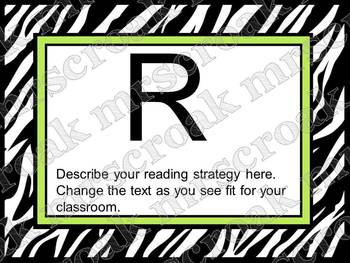 Bulletin Board Headers: Zebra & lime green (editable)