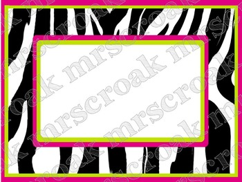 Labels: Zebra with hot pink & lime green, 10 per page