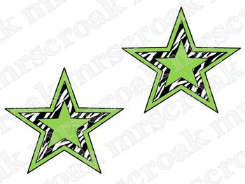 Banners: Zebra stars with hot pink & lime green