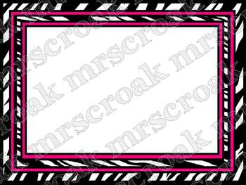 Borders: Zebra with hot pink & lime green (varieties)