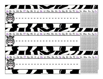 Zebra/Jungle Name Tags Mega Pack in D'Nealian Print BONUS 120 chart