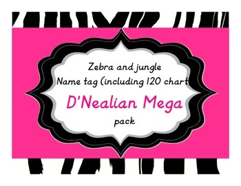 Zebra/Jungle Name Tags Mega Pack in D'Nealian Print BONUS