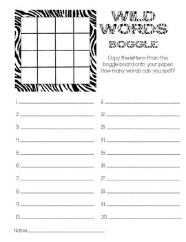 Zebra/Jungle Theme Boggle Game