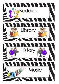 Zebra/Jungle/Animal Print Daily Schedule Cards