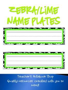 Zebra/Lime Name Plates