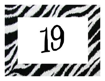 Zebra/jungle/safari Calendar Numbers