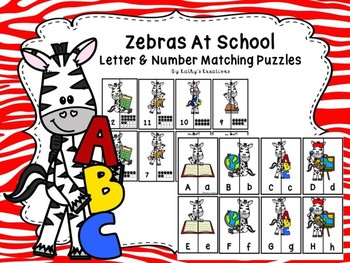 Zebras At School Letter & Number Matching Puzzles
