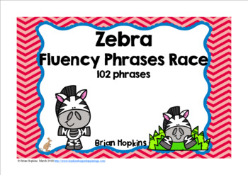 Zebras Sight Word CVC Fluency Phrases Race