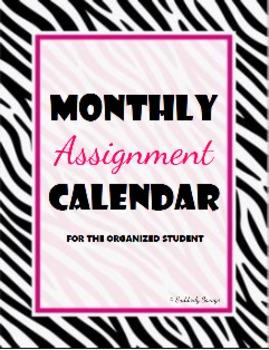 Zebratastic Monthly Assignment Calendar