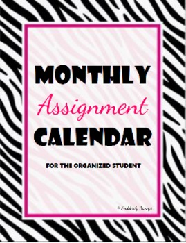 Zebratastic Monthly Assignment Calendar