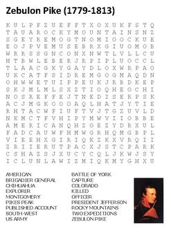 Zebulon Montgomery Pike Word Search