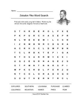 Zebulon Pike Word Search (Grades 3-5)