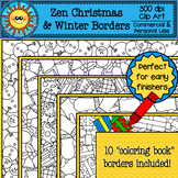 Zen Christmas and Winter Coloring Borders Clip Art