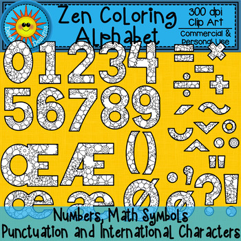 Zen Coloring Alphabet Flowers Clip Art