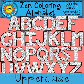Zen Coloring Alphabet Hearts Clip Art