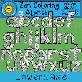 Zen Coloring Alphabet Paisleys Clip Art