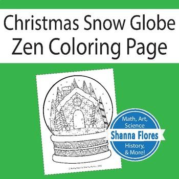 Zentangle Coloring Page - Christmas Snow Globe - Zen
