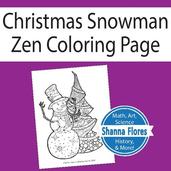 Zentangle Coloring Page - Christmas Snowman and Tree - Zen