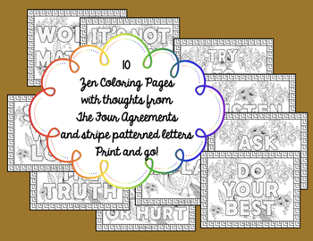 Zen Coloring Pages Four Agreements Edition