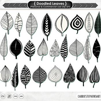Zen Doodled Leaves Clipart, Decorative Stamps, Leaf Clip Art, Graphic Design
