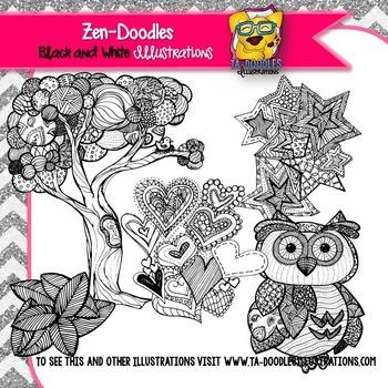 Zen-Doodles Black and White Clipart