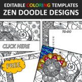 Zen Doodles Editable Coloring Templates