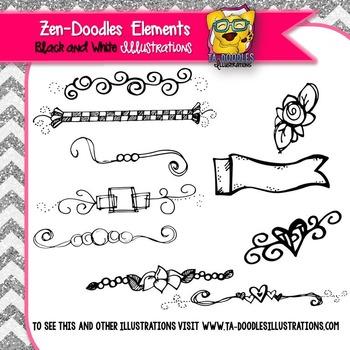 Zen-Doodles Elements Black and White Clipart