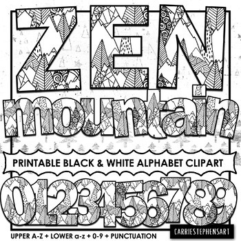 Zen Mountain Printable Bulletin Board Letters | Alphabet ClipArt PNG