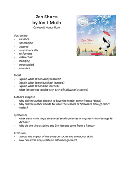 Zen Shorts by Jon J Muth - Teaching Literary Skills with Picture Books