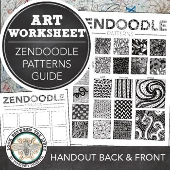 Zendoodle Pattern Examples Printable Worksheet: Visual Art Drawing Exercise