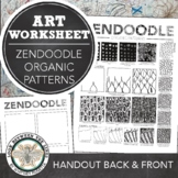Zendoodle Printable Visual Art Worksheet, How to Create Organic Patterns