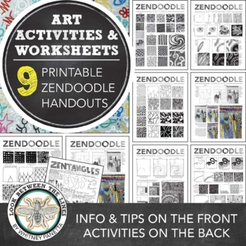 Zendoodle Printable Worksheet Bundle: 9 Back and Front Visual Art Activities