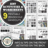 Zentangle Worksheet Bundle, Elementary Art, Middle School