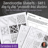 Zendoodle Sheets - Set 1 - Step by step zendoodle worksheets