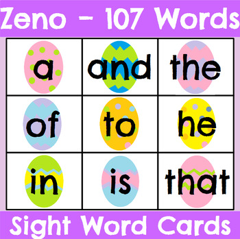 Zeno High Frequency Word Cards Easter