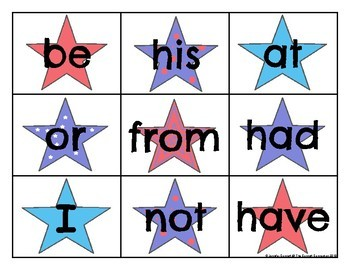 Zeno High Frequency Word Cards Patriotic Theme