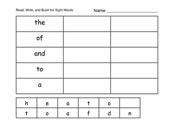 Zeno Sight Words 1-5 - Read, Write, and Build Activity Page