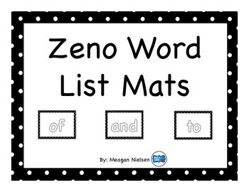 Kinesthetic Zeno Word List Mats