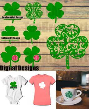 Zentange Shamrock Clover Cutting Files SVG PNG EPS dxf ClipArt 724C