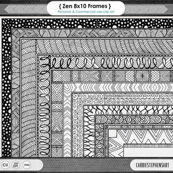 Zentangle 8x10 Border ClipArt, Digital Frame, Hand Drawn Page Border Design
