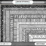 Zen 8x10 Border ClipArt, Digital Frame, Hand Drawn Page Border Design