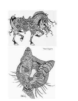 Zentangle Animal Art Worksheet / Sub Plans / Fun Art Activity