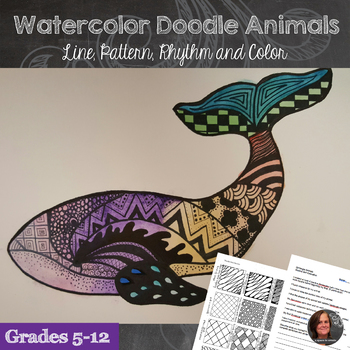 Watercolor Doodle Animals - Beginning Watercolor, Rhythm and Contour Line