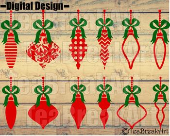 Zentangle Christmas Ornament v2 Digital Cutting Files SVG PNG dxf clipArt 740C
