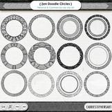 Zen Circle Frame ClipArt, Doodle Round Circle Border Clip Art Labels