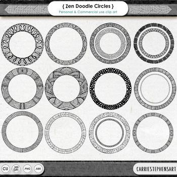 Zentangle Circle Frame ClipArt, Round Border Clip Art, Doo
